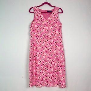 Y2K Linen Bubblegum Pink Floral Daisy Dress 10